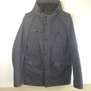 Guess Gray Wool Zipper Coat